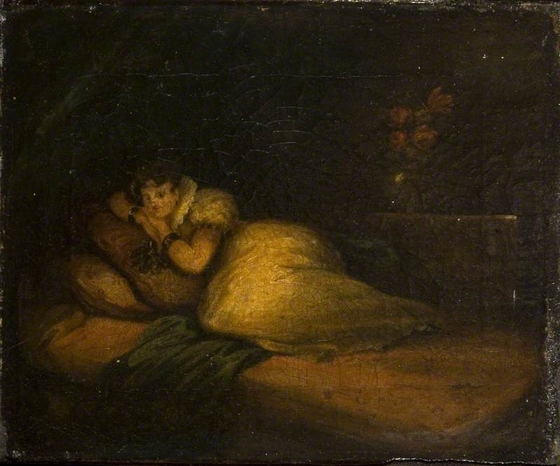 Interior with Woman on a Bed