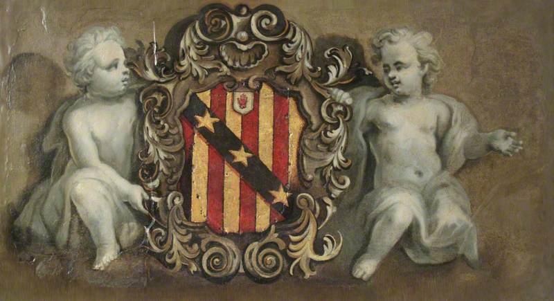 Two Putti Supporting a Cartouche with the Elton Arms