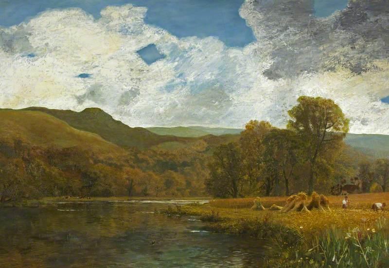 Welsh (?) River Landscape with Harvesters