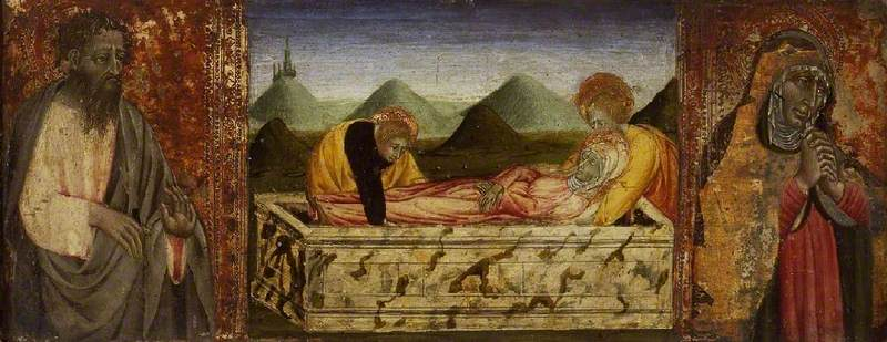 The Entombment of the Virgin with St Bartholomew (left) and a Female Saint (right)