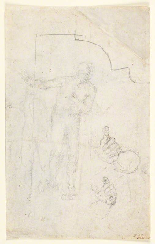 Two Studies of a Male Nude, Two Studies of a Left Hand, an Architectural Detail