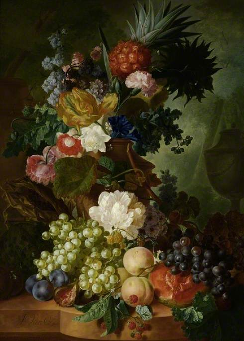 Vase of Flowers and Fruit