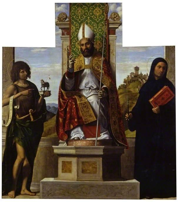 Saint Lanfranc Enthroned between Saint John the Baptist and Saint Liberius