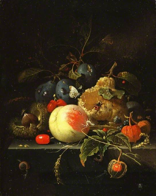 Still Life: Fruit and Nuts on a Stone Ledge