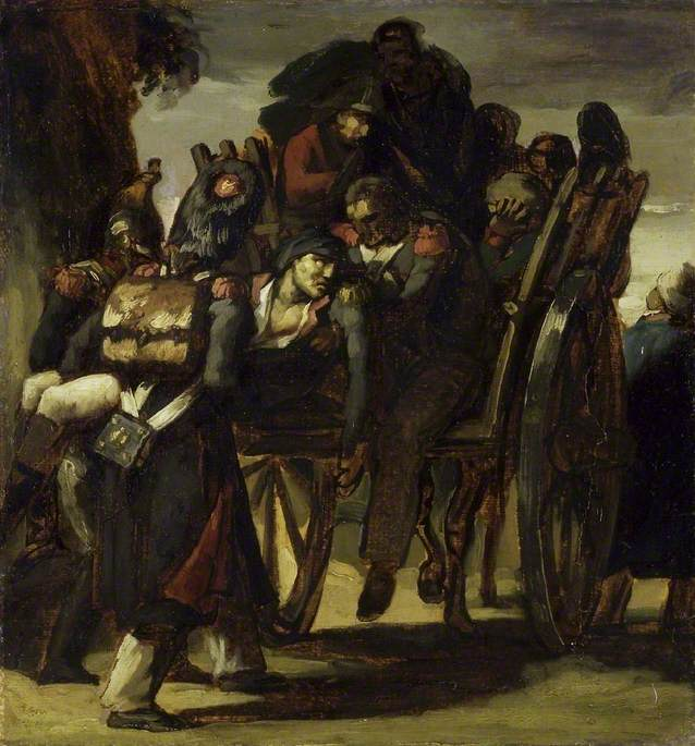 Wounded Soldiers in a Cart