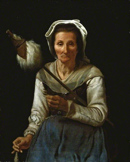 An Old Woman Spinning