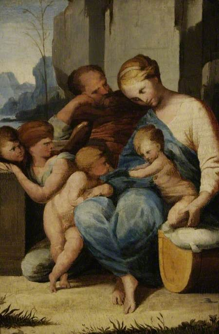 The Holy Family with the Infant Saint John the Baptist and Angels