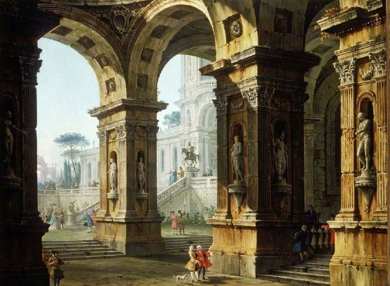 Capriccio: Elegant Figures outside and within a Classical Palace