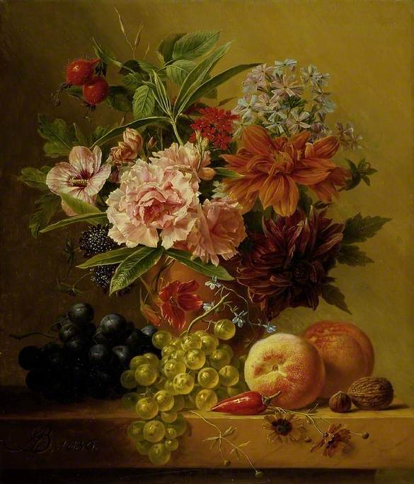 Pot of Flowers and Fruit
