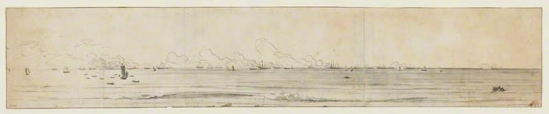 Panoramic View of the English Fleet, off Zandvoort