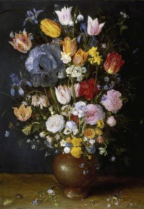 A Stoneware Vase of Flowers