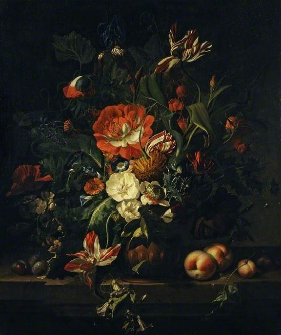 Still Life with Fruit and a Vase of Flowers