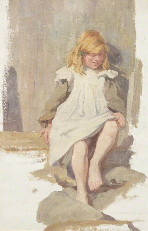 Portrait of a Little Girl with Red Hair and a White Apron