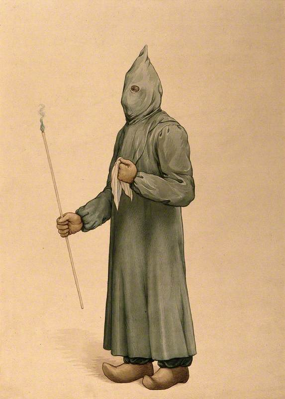 A Physician Wearing a Plague Preventive Costume in Marseille, 1720