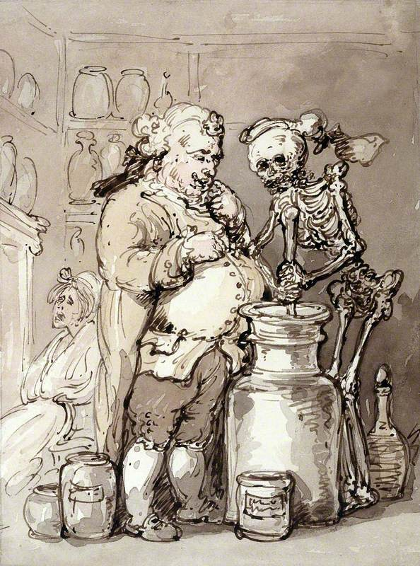 Death as an Apothecary's Assistant Making Up Medicines with a Mortar and Pestle for the Apothecary, Attending a Female Patient Who Sits by the Fireside