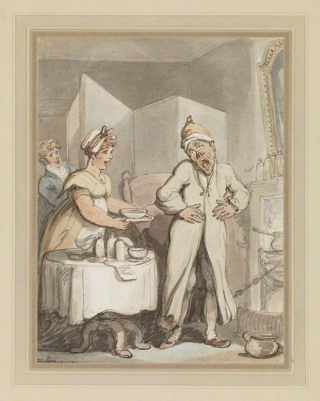 A Man in Pain Receiving Medicines from a Housemaid