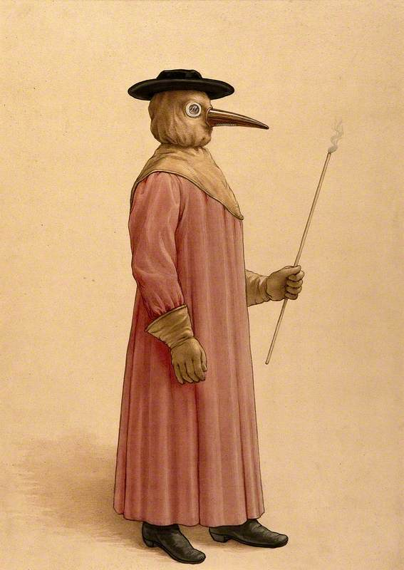 A Physician Wearing a Seventeenth-Century Plague Preventive Costume