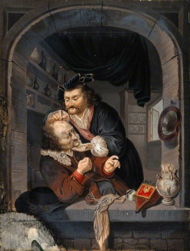A Surgeon in His Workroom Extracting Stones from a Man's Head; Symbolising the Expulsion of 'Folly' (Insanity)