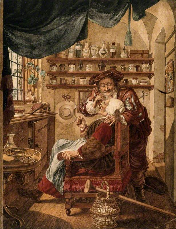 A Barber-Surgeon Extracting Stones from a Woman's Head, Symbolising the Expulsion of 'Folly' (Insanity)