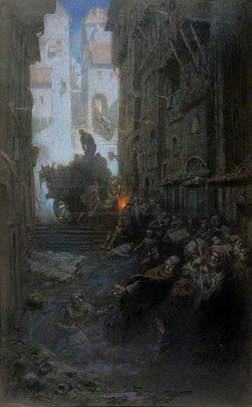 Crowded Dark Streets Full of Dead and Dying People, Bodies are Being Loaded on to a Cart; Representing Cholera
