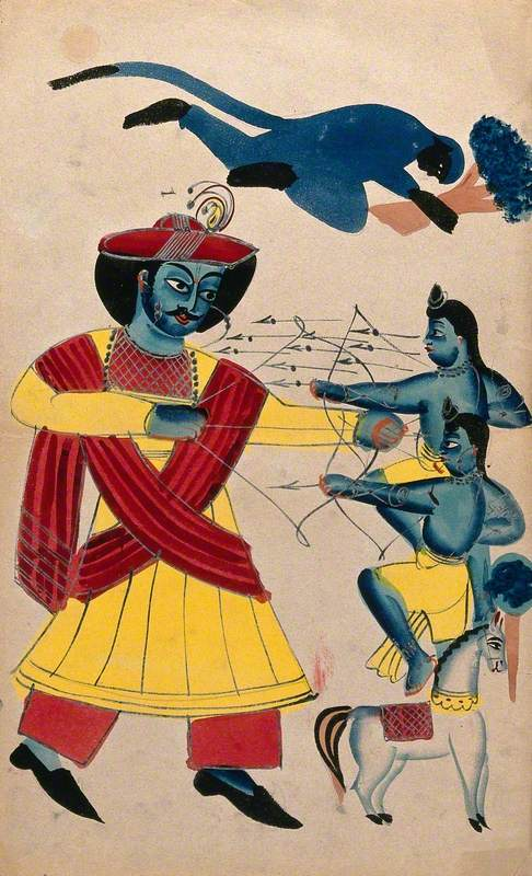 Rama Fighting His Sons Lava and Kusa with Hanuman Helping