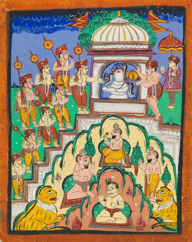 Pilgrims with Roses Worship a Snake Shrine while a Brahmin Priest and Attendants Pray during a Snake Festival