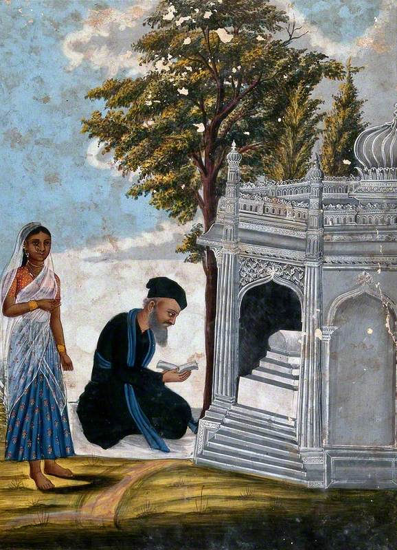 A Hindu Praying to a Shrine Accompanied by a Young Lady