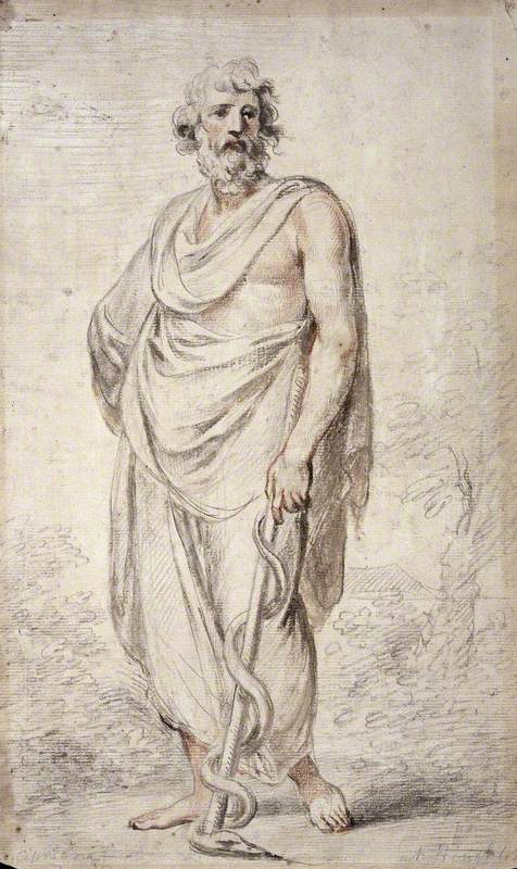 Aesculapius Holding a Staff Encircled by a Snake