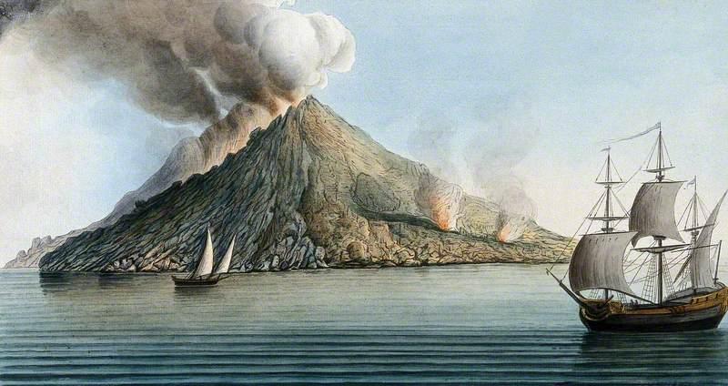 The Island of Stromboli, Smoke Erupting from Its Peak