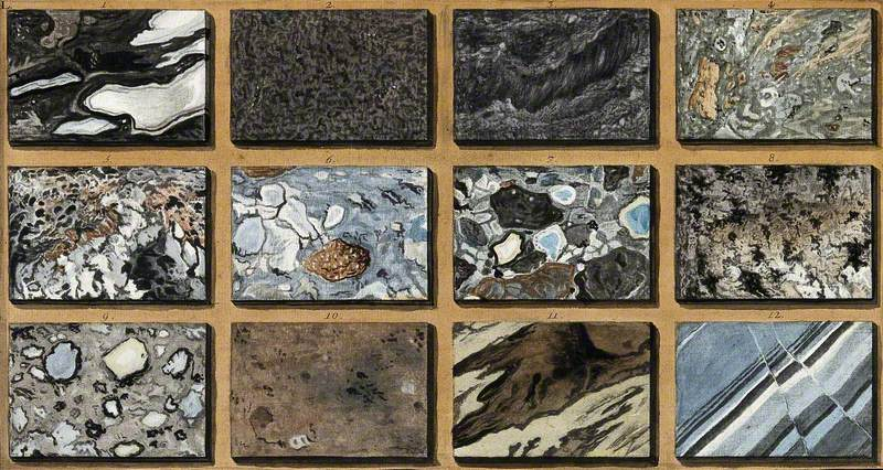 Polished Schists of Marble and Other Mixed Stones from Mount Vesuvius