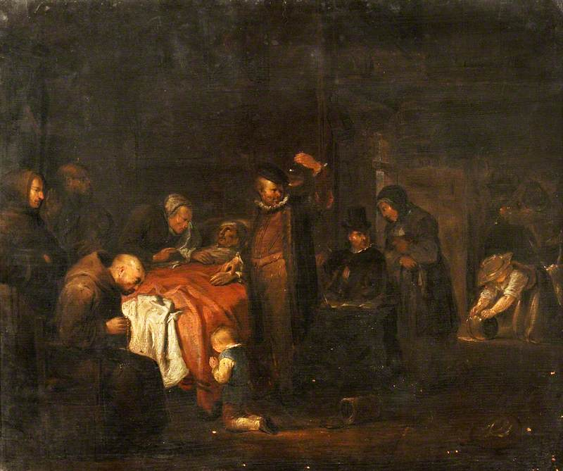 A Deathbed Scene with a Physician Examining a Urine Flask