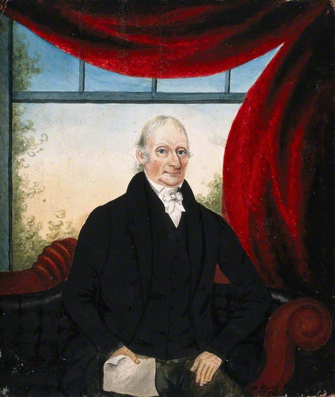 A Member of the Jenner Family (?), Seated on a Sofa, Holding a Paper in His Right Hand; Behind, a Window Framed with a Red Curtain