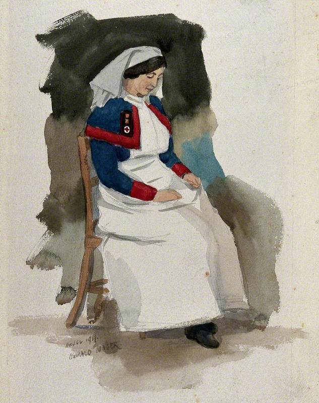 First World War: Superintending Sister Quarns Is Seated in Chair