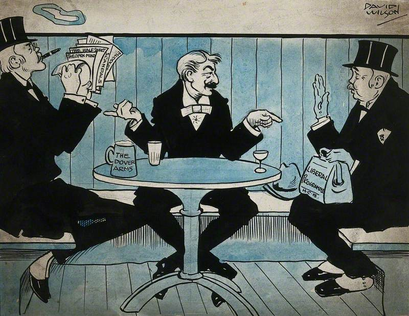 Three Men Seated at a Table; One Smoking a Cigar and Holding Some Sheets of Paper, One, George Wyndham (?), Pointing at the Two Others, One with a Briefcase on His Lap