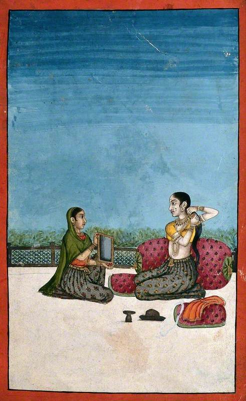 An Indian Lady Attending to Her Toilette with a Helper Holding a Mirror for Her