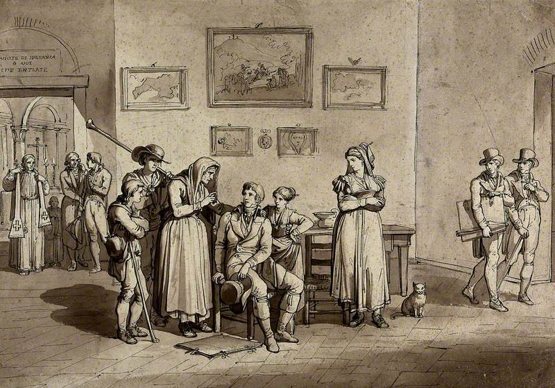 A Countrywoman Is Telling the Fortune of a Young Artist at the Entrance to a Chapel while Two Other Artists Walk Past on the Right