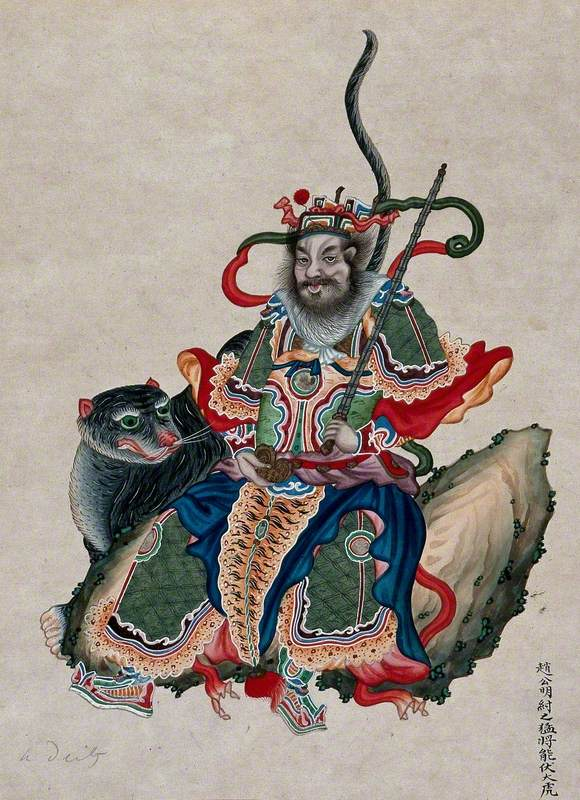 A Chinese Deity with a Sword Accompanied by a Tiger