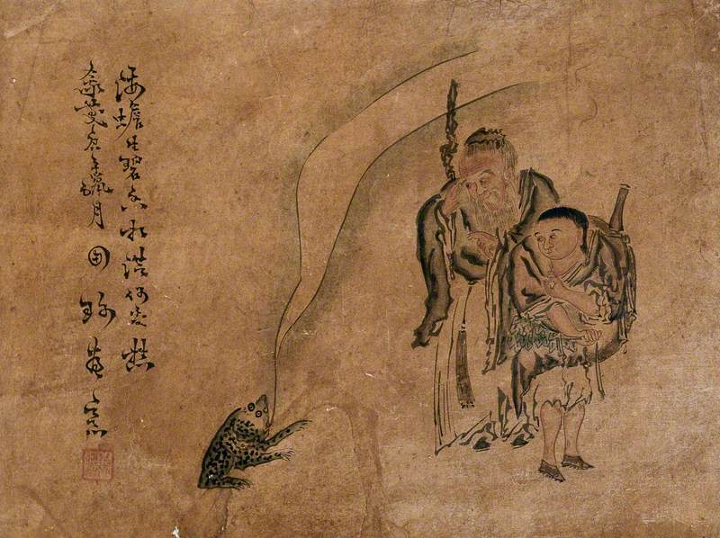 A Chinese Sage, Accompanied by His Young Assistant, Blesses a Frog