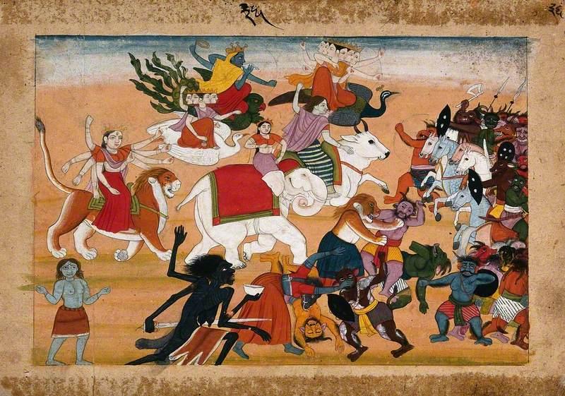 A Battle between Animals, Divs and Hindu Deities