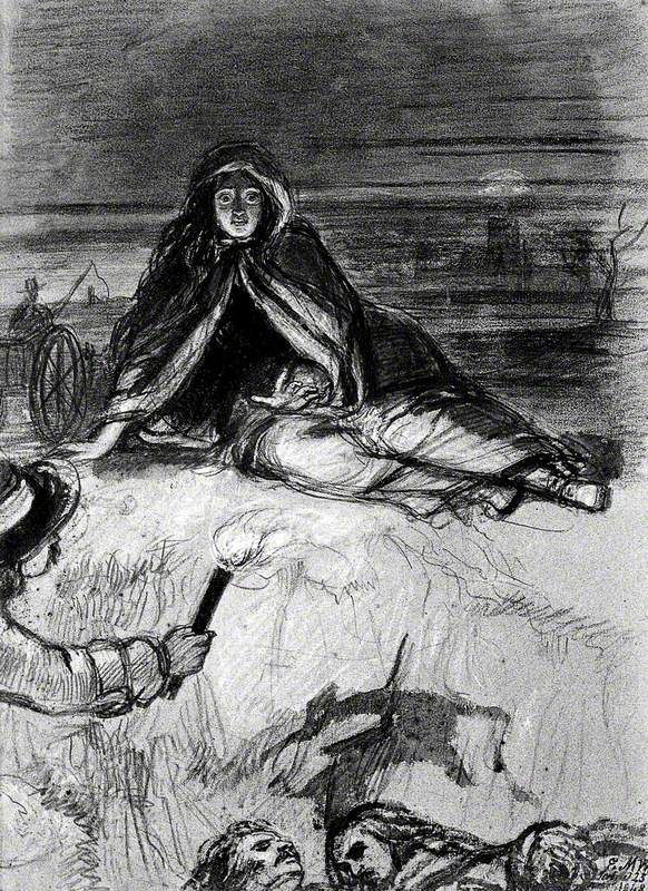 A Woman Seated on the Ground, Torchbearer to Left, below Heads of Plague Victims