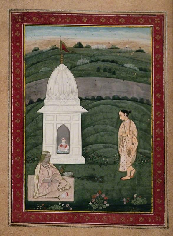 Two Woman at a Shrine of the Shiva Linga