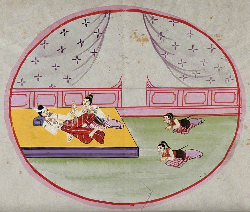 Two Figures Reclining on a Bed in a Palace while Two Servants Pay Homage, Burma