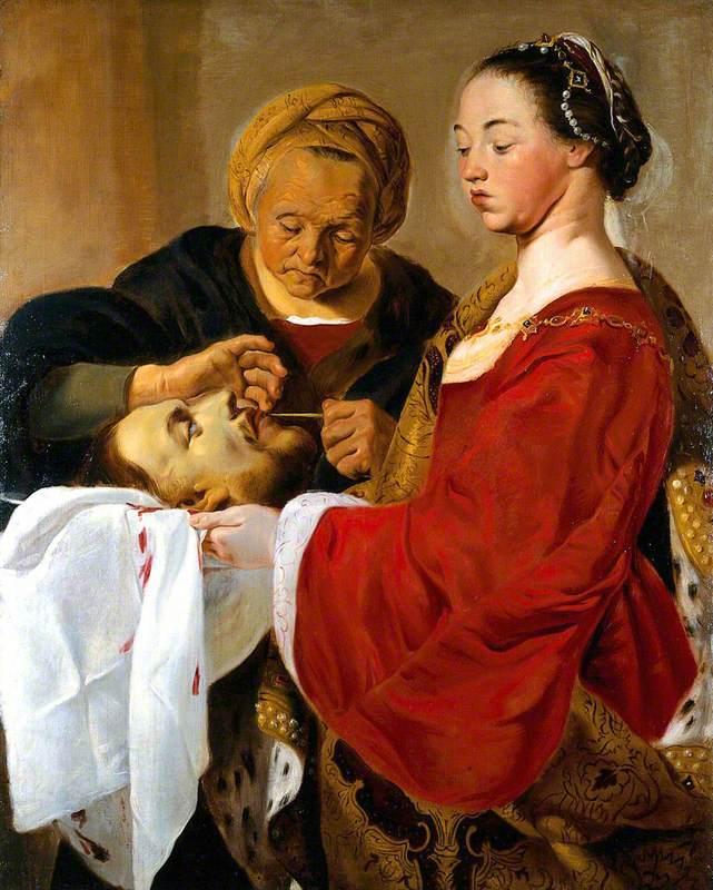 Herodias Mutilating the Severed Head of Saint John the Baptist Held by Salome