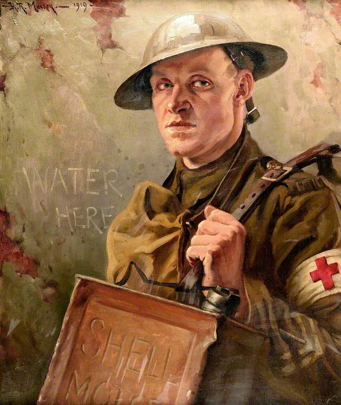 First World War: A Royal Army Medical Corps Bearer Supplying Water to the Front Line