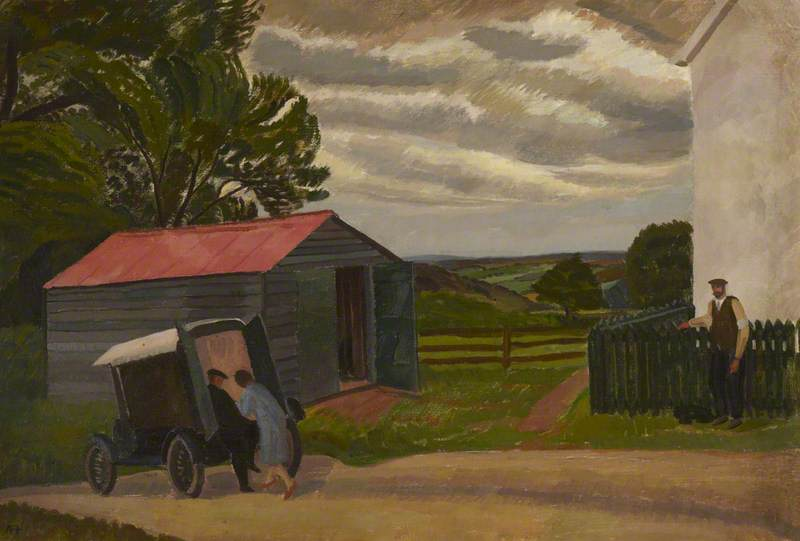 Farm Scene with Couple Delivering Goods