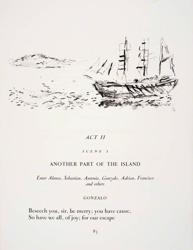 The Ship at Sea and the Island in the Background