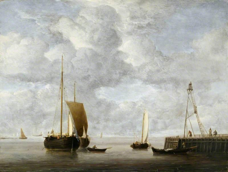 A Dutch Hoeker at Anchor near a Pier