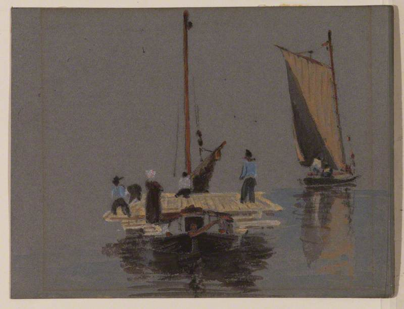 Two Sailing Barges with Figures