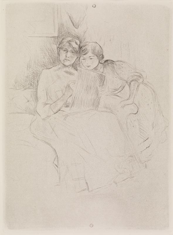 Berthe Morisot Drawing, with Her Daughter (Berthe Morisot dessinant, avec sa fille)
