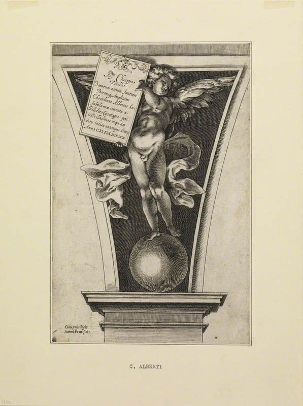 Winged Figure Standing on a Sphere, Holding a Tablet